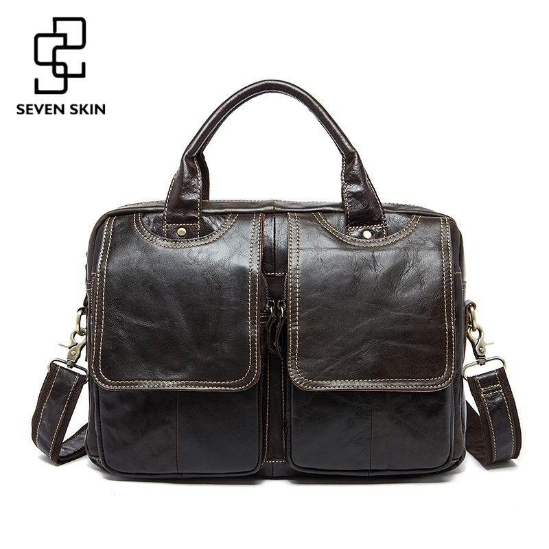 ФОТО Men Luxury Vintage Handbag Cowhide Genuine Leather Bags Mens Messenger Shoulder Bag Crossbody Men's Briefcase Laptop Travel Bags