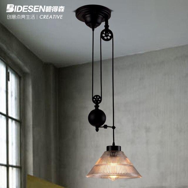 Vintage Industrial Loft2 Pulley Pendant Light Edison Bulb Lamp Mirror  Lifting Fixture Bar Home Decoration Lighting