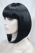 hot deal buy  100% brand new high quality fashion picture full lace wigs>>fashion cute bob jet black short straight women's full wig