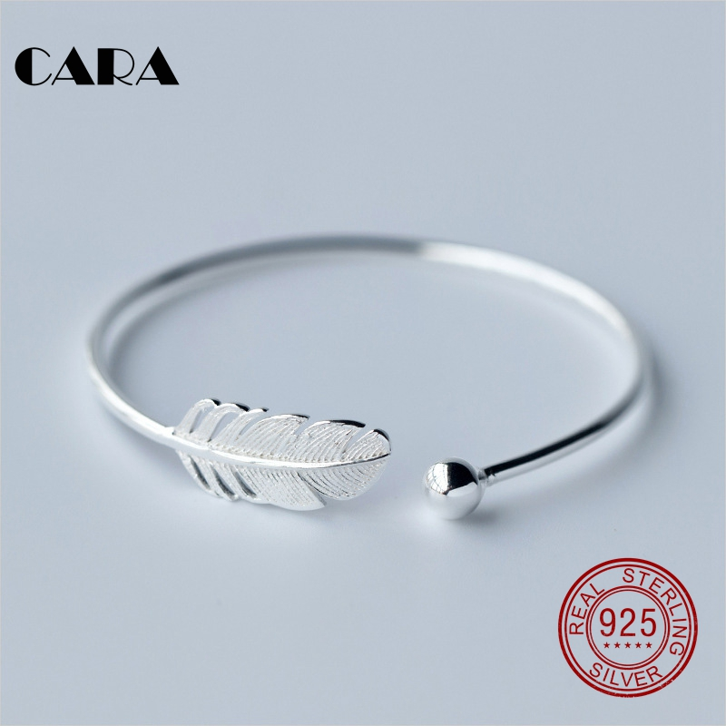 2018 New 3 Styles Las Fashion 925 Sterling Silver Bangle Bracelet Chic Feather Stylish Cara0207 In Bangles From Jewelry