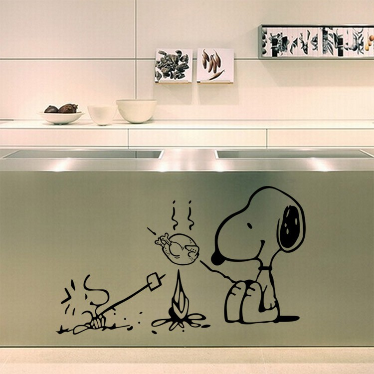 X015 Cute Dog At The Barbecue Removable Vinyl Kitchen Decor Wall Stickers Home Decor Bakery Cafe