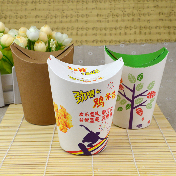 50pcs Chicken fries box box packaging barrel kraft paper bag mail disposable food packing box free shipping