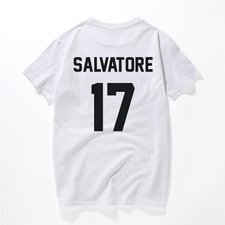 Повседневное Salvatore 17 футболка год рождения вампира Дневники Mystic Falls Топы Графический футболки tumblr футболка для Для мужчин Для женщин