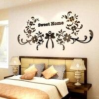 Колокольчиков и цветы Sweet Home Дизайн акрил Наклейки двери Спальня Стекло Аксессуары свадебные Рождественский подарок