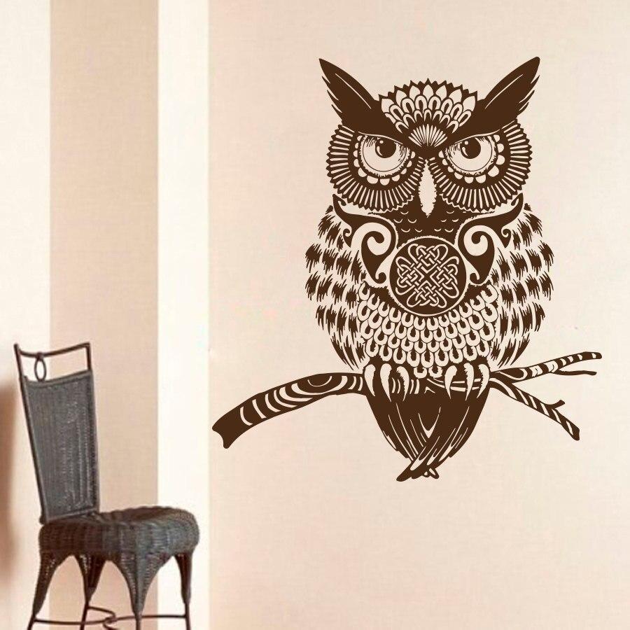 ZOOYOO Owl Wall Sticker Vinyl Art Murals Living Room ...