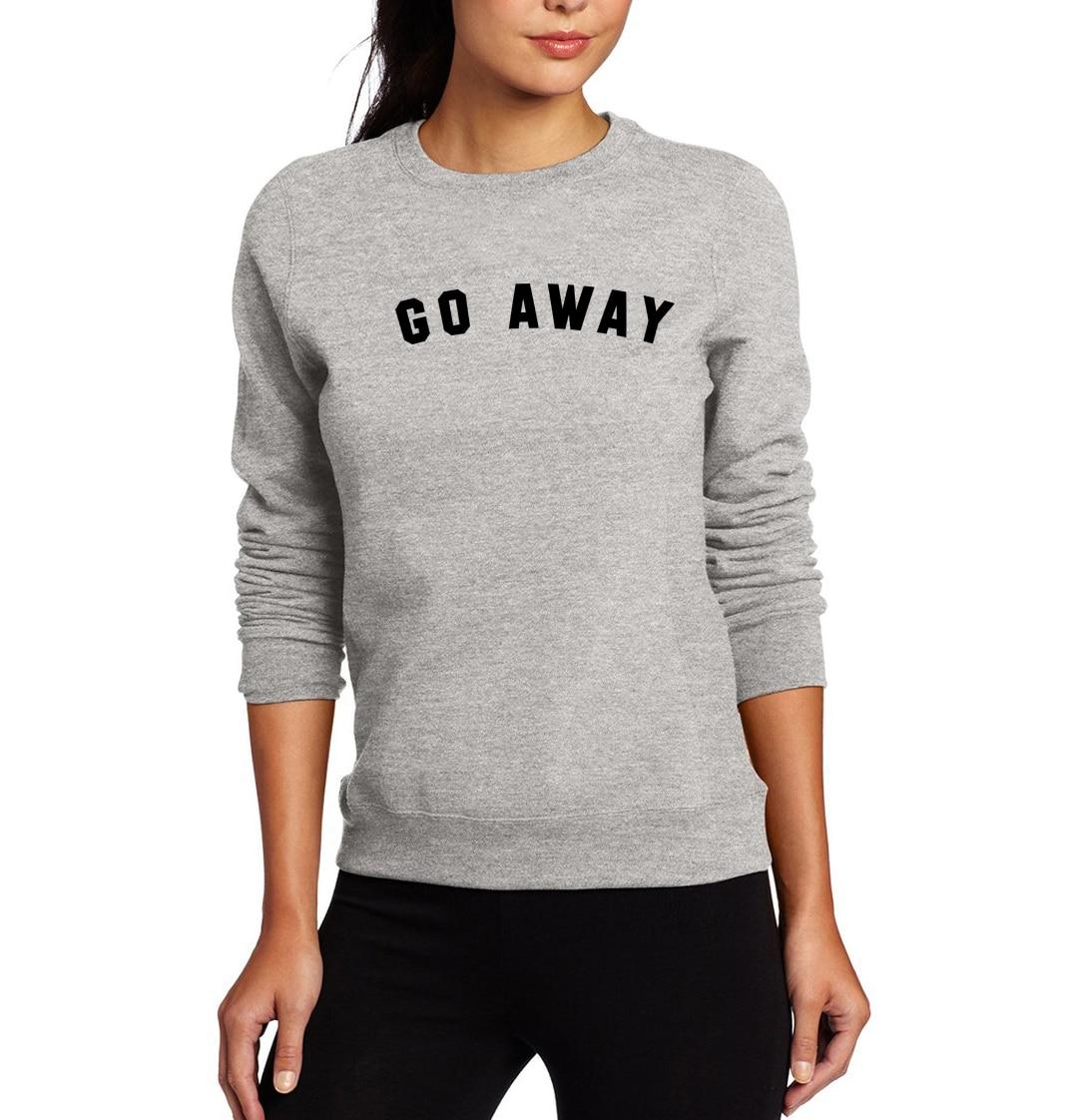 Sweatshirt For Women Printed Go Away Hoodies 2019 Spring Winter Fleece Pulllover Female Sweatshirts Kpop Casual Hot Tracksuits