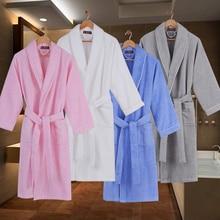 Cotton women bathrobe towel fleece winter pajamas sleepwear nightgown men thicken lovers long soft kimono bath robe white pink