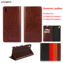 LUCKBUY Top Quality Classic Business Real Leather Flip Cover For Sony Xperia Z5 Compact Premium Luxury Coques