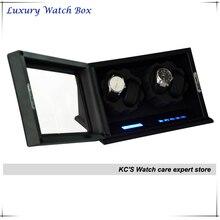 Высокое качество коробке 2 часы деревянные автоматические часы намотки для RLX с замком Burlwood зерна черный дисплей чехол коробка GC03-D60BSB