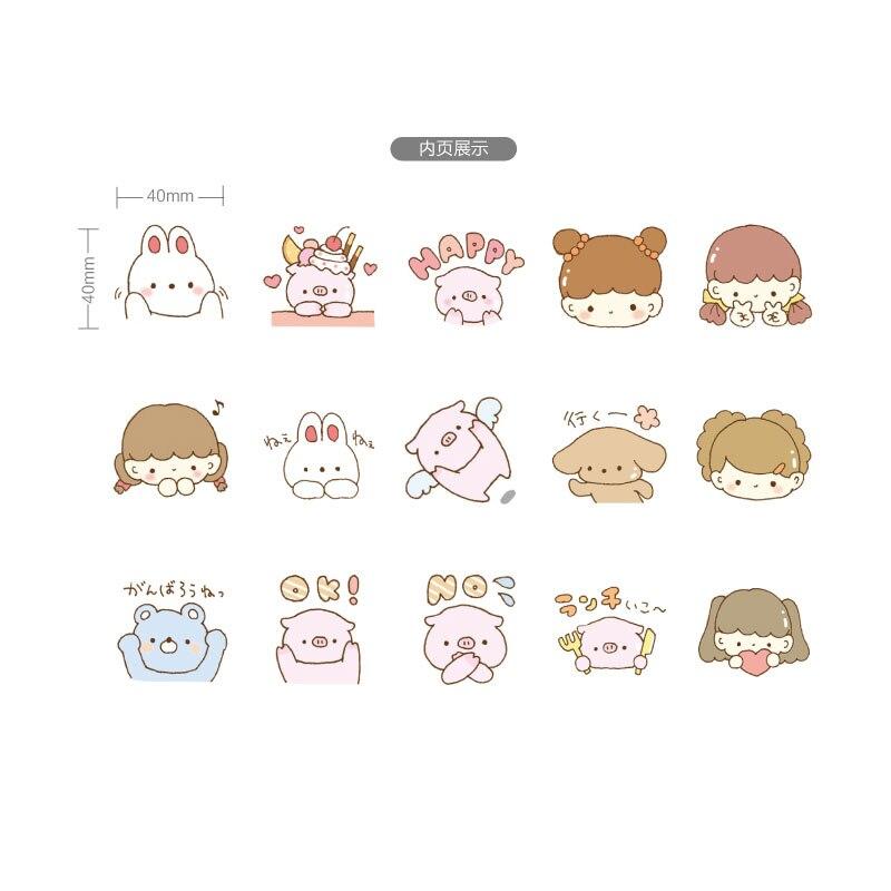 Купить с кэшбэком 45 Pcs/box Pig and girl Mini Decoration Paper Sticker DIY Scrapbook Notebook Album Sticker Stationery Kawaii Girl Stickers