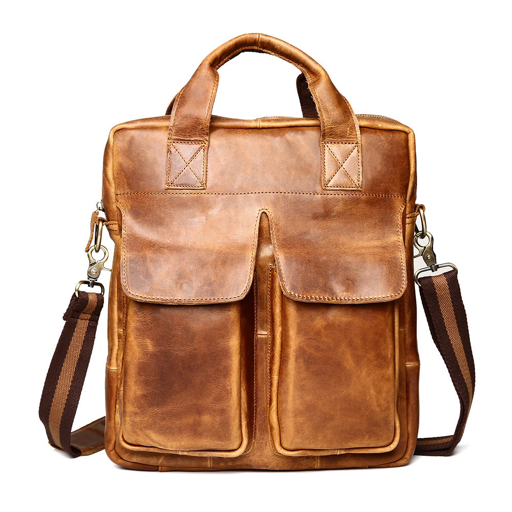 New Fashion Genuine Leather Man Messenger Bags Crazy horse Leather Male Cross Body Bag Casual Men Commercial Briefcase Bag deelfel new brand shoulder bags for men messenger bags male cross body bag casual men commercial briefcase bag designer handbags