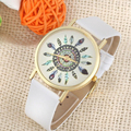 Essential Womens Vintage Feather Dial Leather Band Analog Unique Quartz Watches Gift Bangle Bracelet Female Dress Wristwatches