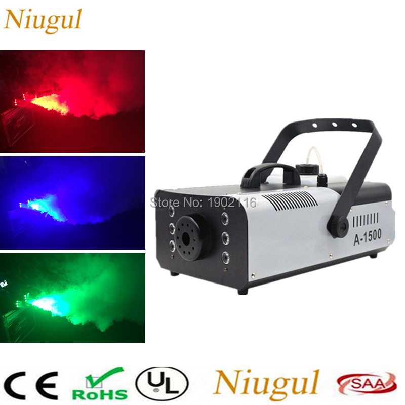 1500W Fogger RGB 3in1 (6pcs LED) Smoke Machine Remote and Wire Control Stage LED Fog Machine DJ lighting