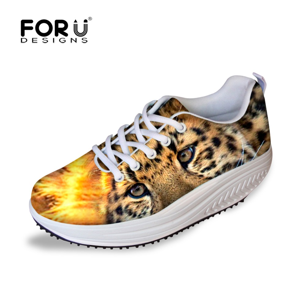 ФОТО FORUDESIGNS Women Wedge Platform Shoes,Casual Flats Shoes for Woman Luxury Leopard Print Ladies Flat Slimming Swing Shoes Femme