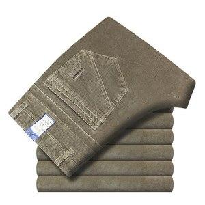 Image 5 - Autumn Winter Warm Men Stretch Corduroy Pants Loose Straight Slacks Long Business Casual Pants High Thicken Corduroy Trousers