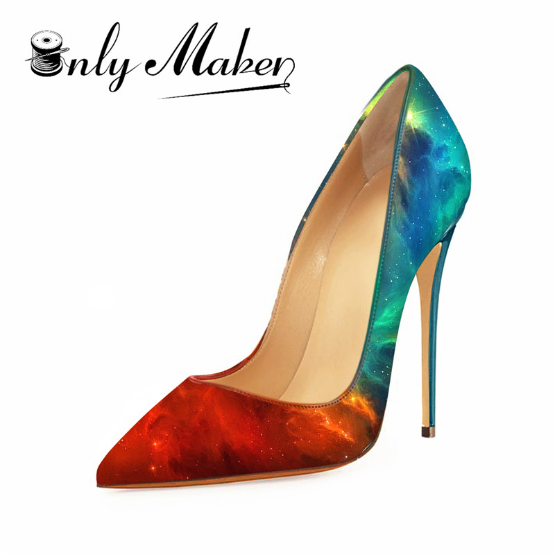 f815cbd1d272 Onlymaker 2018 Women s 12cm slip on heels thin sky high sexy heeled stiletto  gradient colorful wedding shoes pointed peep US15-in Women s Pumps from  Shoes ...