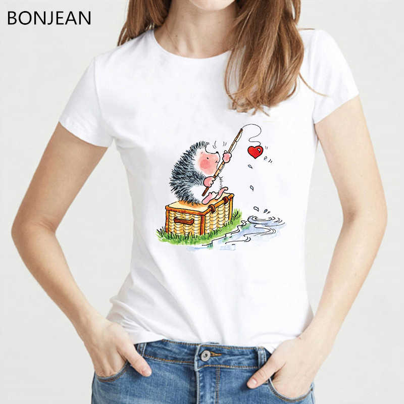 Camicia di Estate Della molla Delle Donne di harajuku kawaii Hedgehog design tshirt femme animale stampa divertenti t-Shirt loveheart tumblr t shirt