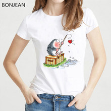 Spring Summer Shirt Women harajuku kawaii Hedgehog design tshirt femme animal print funny t shirts loveheart tumblr t shirt(China)