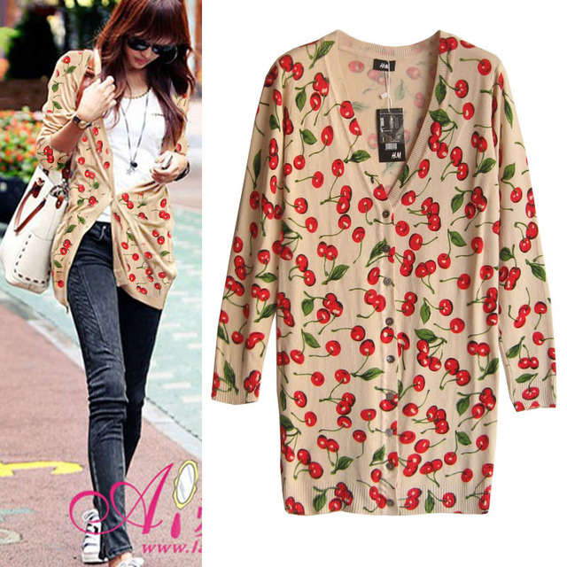 d6178adad5 Watermark cherry pattern medium-long cardigan sweater women loose geometry  Print Cardigans Cartoon