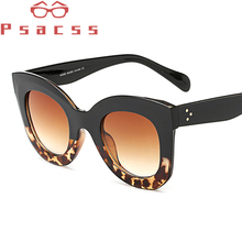 Psacss Vintage Cat Eye Sunglasses Women Brand Designer Oversized Sun Glasses Womens Retro Mirror Lunette De Soleil Femme UV400