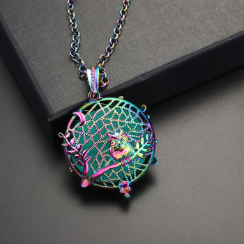 Trend Tree Owl Hollow Out Aromatherapy Diffuser Necklace Pendant for Women Clothes Accessory Locket Cage Necklace Holiday Gift locket