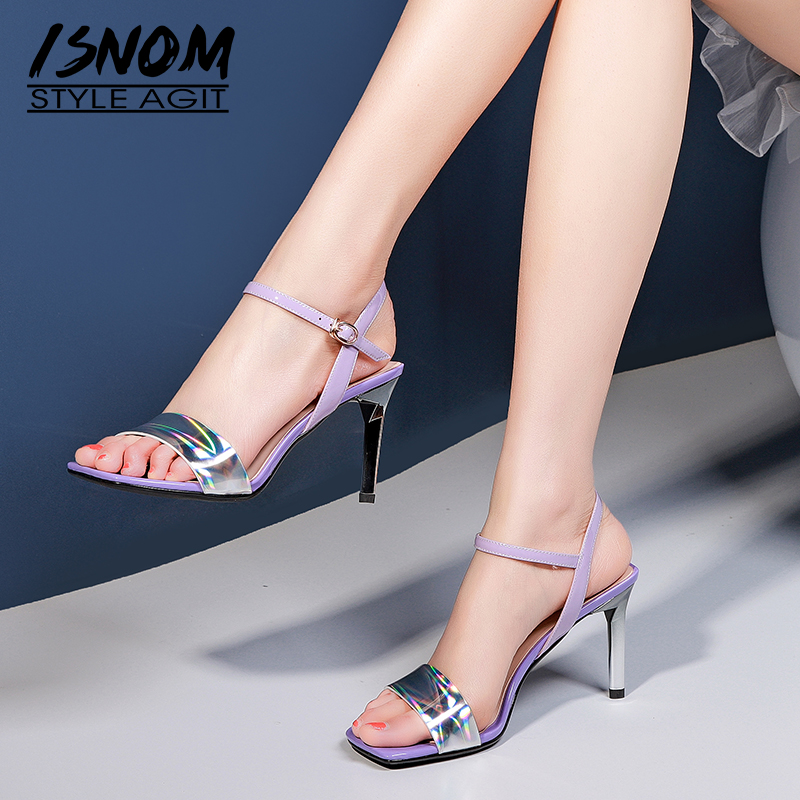 ISNOM Patent Leather Sandals Women Summer Sandals Woman High Heels Shoes Female Party Shoes Ladies Colorful