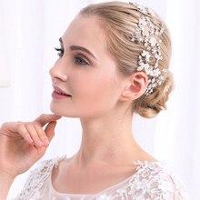 Miallo Romantic Pearl with Rhinestone Hair Vine Jewelry Headband wedding handband band