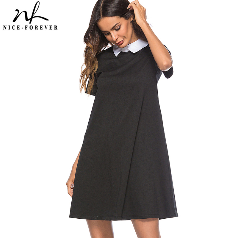 Nice-forever Women Causal Summer Turn-down Collar Black Loose Work Office Business Shift Straight Dress BtyT035