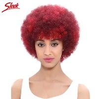 Sleek модные Цвет афро кудрявый парик 100% Человеческие волосы Парики для черный Для женщин не Кружева Парики для афро-американцев красный или #2