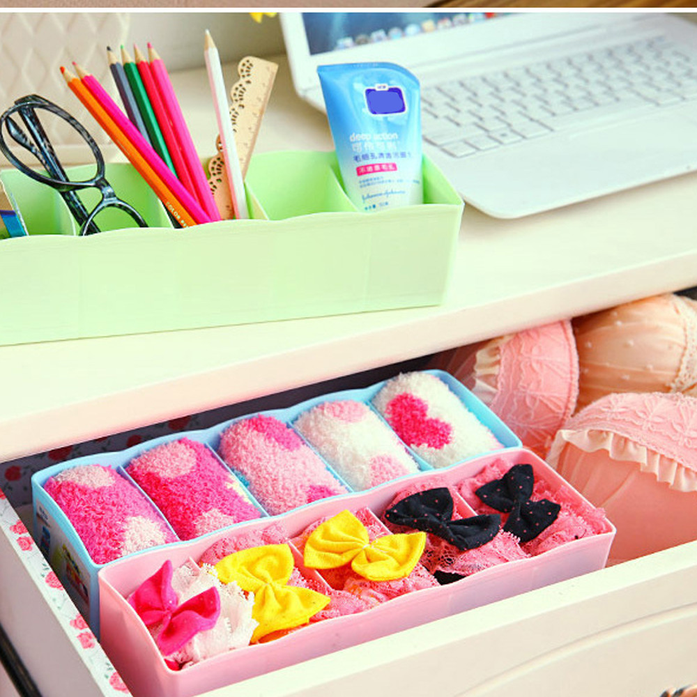 5 Cells Plastic Organizer Storage Box Tie Bra Socks Drawer Cosmetic Divider  Tidy Storage Bins Happy
