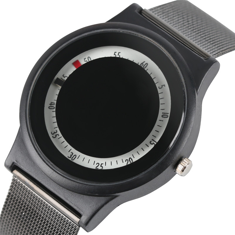 6c1f8ba2d68 Criativo Círculo Redondo Dial Relógio de Pulso Homens Noctilucentes Moda HQ  Cinta de Malha Simples Relógios Das Mulheres Modernas Minimalista Relógio  de ...