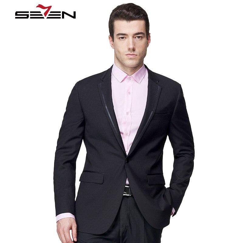 Seven7 Luxury Brand Suit Jacket For Men Slim Fit Vintage Classic Custom Made Black Blazer Tailor-made Gentlemen Mens Clothes Top