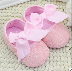 White and pink Bowknot Baby Girl Lace Shoes Toddler Prewalker Anti-Slip Shoe Simple bebe Shoe sapato bebe Free &Drop shipping