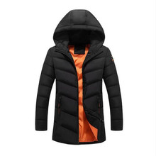 Free shipping Men Parkas 2017 New Winter Thick Jackets Hood With Zipper Pocket Long Jacket Casual Black Cotton Coat Outwear