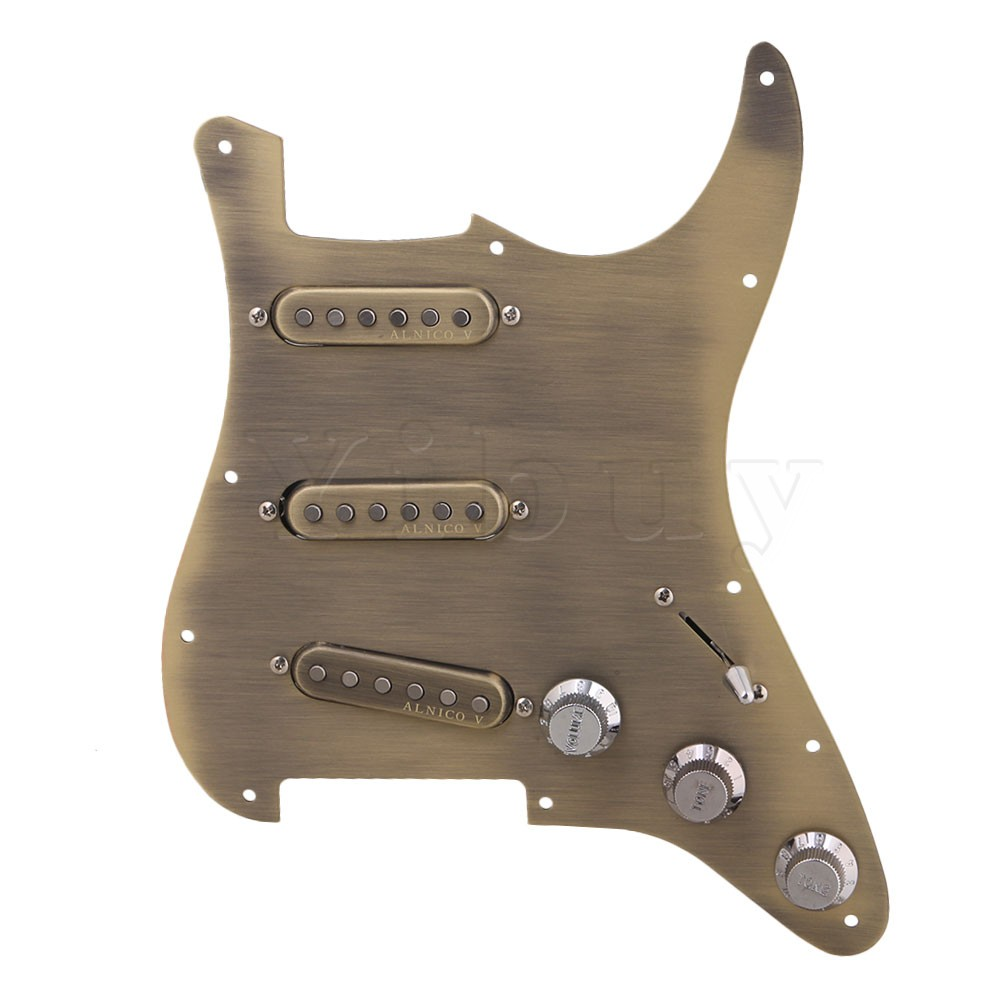 Yibuy 282x225x50mm Antique Bronze Aluminum Alloy Electric Guitar SSS Single Coil Prewired Loaded Pickguard Set yibuy gold vintage lipstick tube pickup for single coil electric guitar