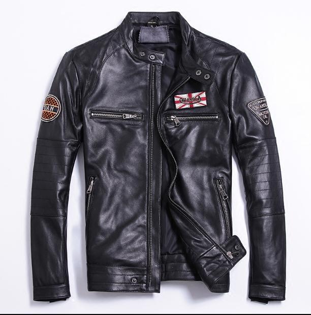 Free shipping.Sales classic quality slim Sheepskin jackets,men's genuine sheep leather,motorcycle biker clothing.plus