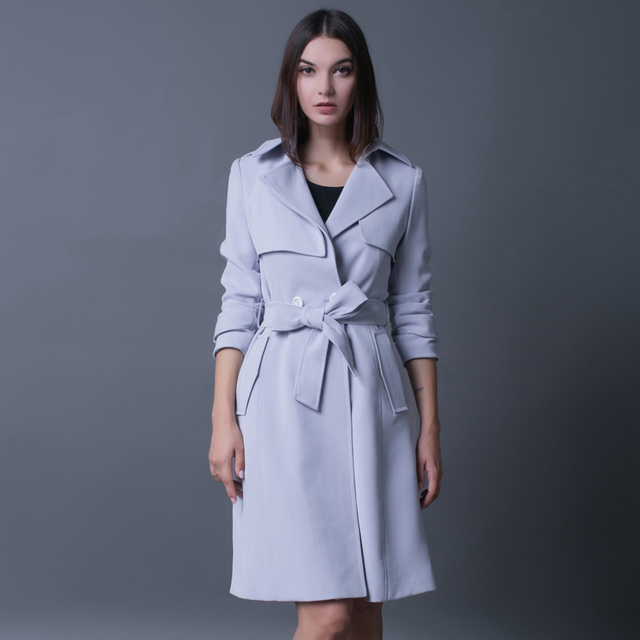 Trench female 2016 fashion long sleeve double breasted outerwear medium long plus size gray peacoat ladies elegant outwear coat