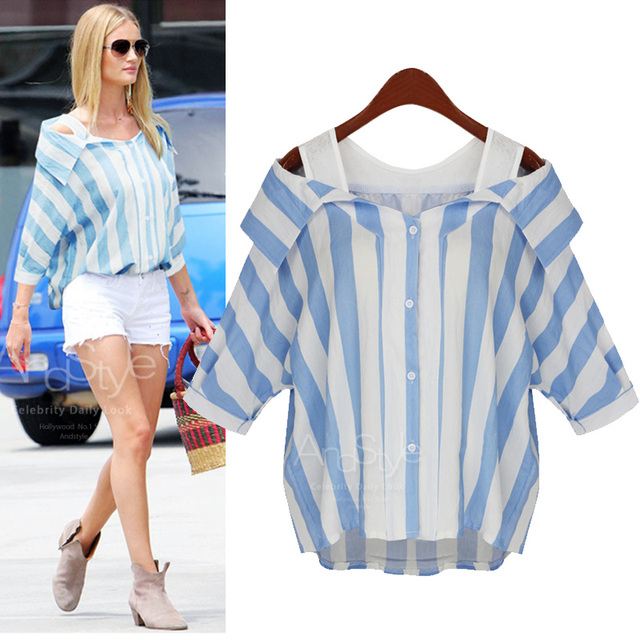 29f61851e8ea07 XXXL 4XL 5XL Plus Size Women Blouse 2016 Summer Fashion Striped Sexy Off  Shoulder Top Batwing Sleeve Loose Casual Blusas Shirts