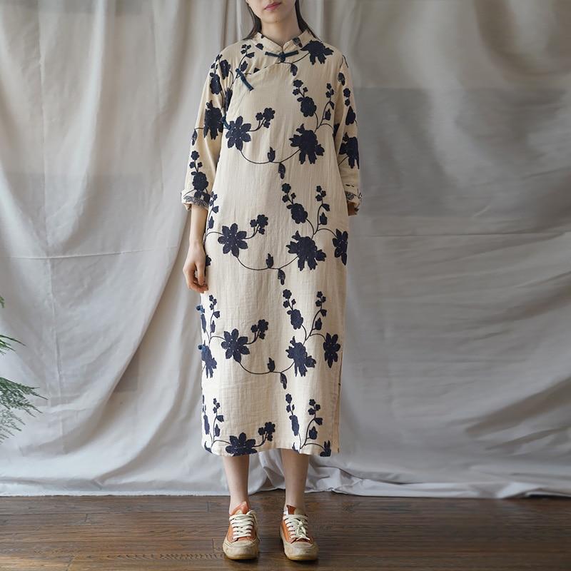 Women Embroidery Cheongsam Stand Vintage Dress Spring New Original Women Cloths Button Cotton Chinese Dress