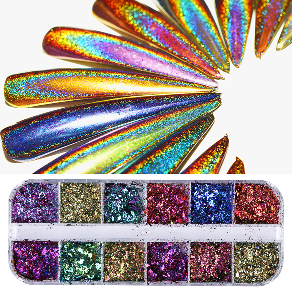 12 Designs Chameleon Flakes Tips Nail Art Glitter Power Sequins Unicorn Paillette  Chrome Nail Decoration Shinning Dust Set SAQC 4pc magic mirror powder dust nail glitter diy nail art tips sequins chrome effect pigment nail art decoration tools