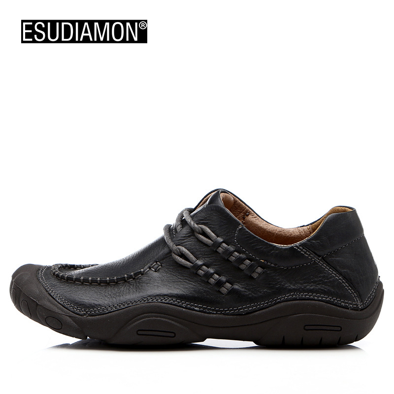 ESUDIMON Summer Men Leather Shoes Casual 2017 Walking Shoes For Men Designer Flat Casual Breathable Fashion Dress Slip-on Loafer branded men s penny loafes casual men s full grain leather emboss crocodile boat shoes slip on breathable moccasin driving shoes