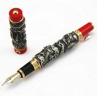 משלוח חינם החדש JINHAO עט נובע רחבה ציפורן אפור ואדום שני הדרקון לשחק הפנינה ללא קופסא מקורית