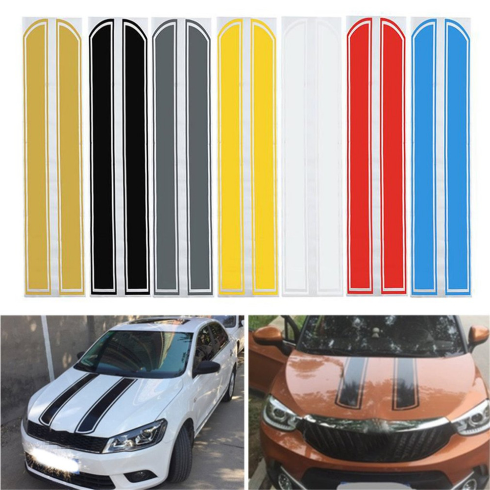 Universal 130*24cm Car Auto Hood Side Vinyl Stickers Engine Cover Styling Reflective Decal Stripe Paste Sticker Bumper Decal