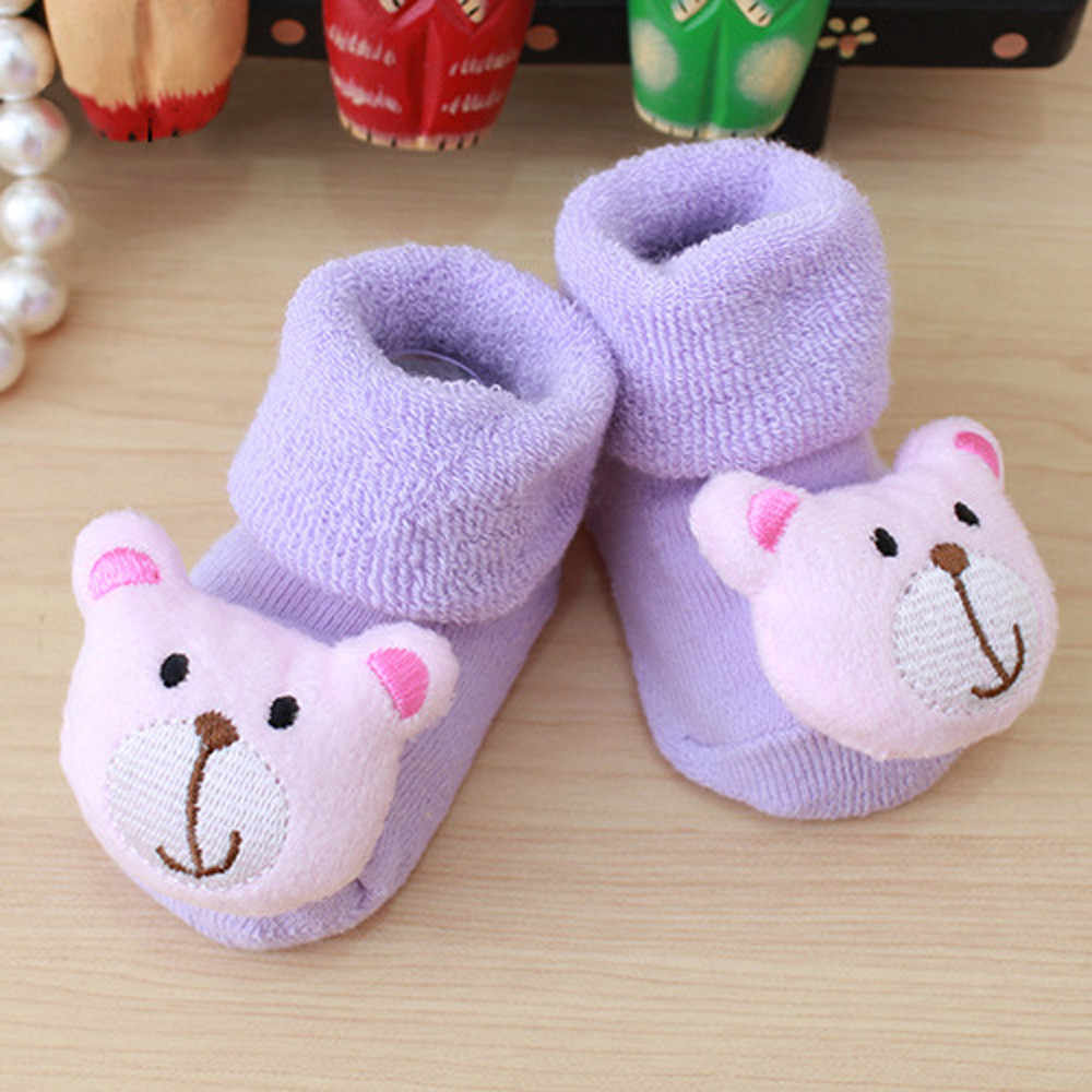 Calcetines bonitos de dibujos animados para bebés recién nacidos bebés calcetines para niños y niñas calcetines calientes antideslizantes de invierno zapatillas Botas meias