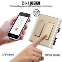 2 dans 1 H2 AC 110 à 250 V Intelligent Télécommande interrupteur WiFi Lumière Avec App pour IOS Android App contrôle Manuel Intelligent la maison