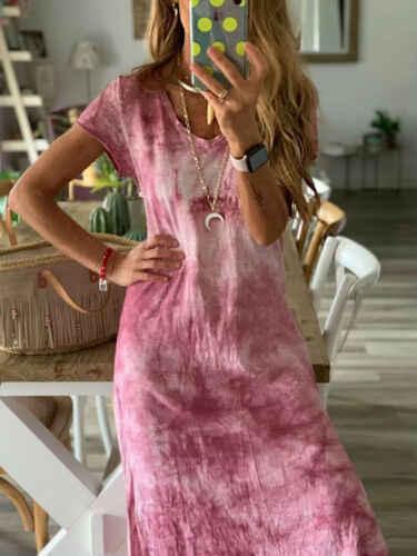 Plus Size Womens Cotton Summer Short Sleeve Long T-Shirt Ladies Casual Dress Boho Kaftan Tunic Gypsy Ethnic Beach Party Sundress