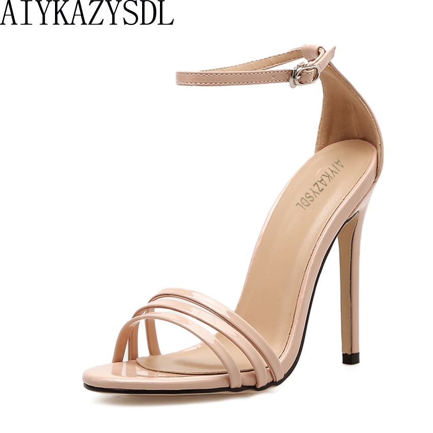 AIYKAZYSDL 2018 Women Sandals High Heels Open Toe Ankle Wrap Shallow Sexy Pumps Classic Stilettos Fashion Solid Concise Shoes