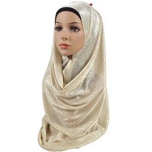 Image 4 - Feminino elástico liso algodão flor hijab cachecol elástico muçulmano hijab headwear envoltórios macio confortável xales atacado 10 pçs/lote