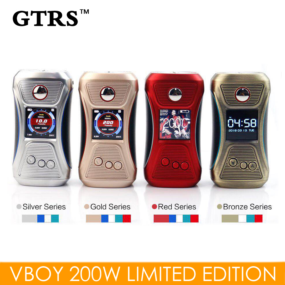 Original GTRS Vboy 200W TCR Mod Dual 18650 Limited Edition Wallpaper Switchable Electronic Cigarette Mod TFT IPS Screen Vape