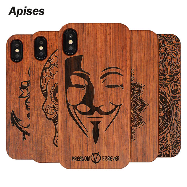 """Retro PC+Wood Skull Case for iPhone X 5.8"""" Novelty Vintage Phone Cases Cover for iPhone 10 iPhone X Plastic Shell"""